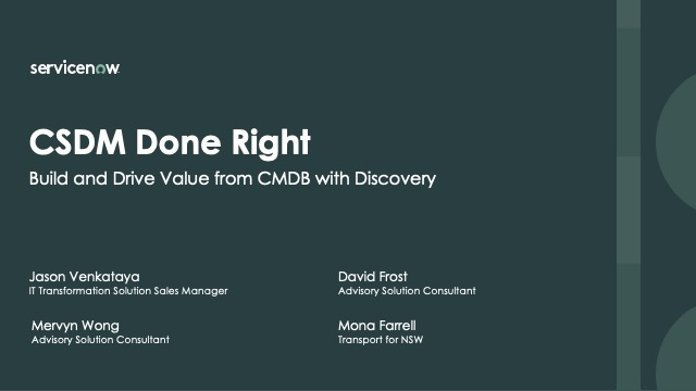 CSDM done right. How to build and drive value from your CMDB with Discovery