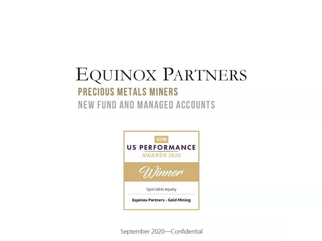 Gold currently has significant long-term tailwinds – Equinox Partners