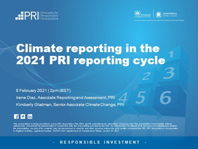 Climate Reporting in the 2021 PRI Reporting Cycle