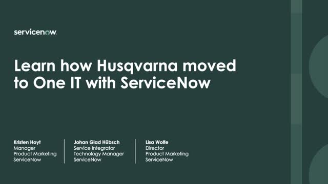 How Husqvarna created 'One IT' service and operations