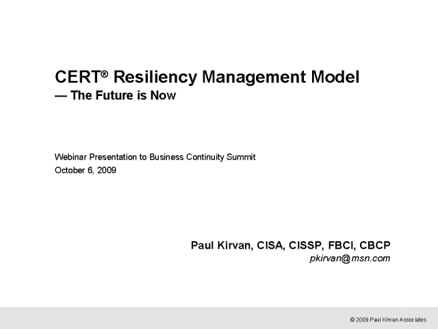 Resiliency Management Model - The Future is Now