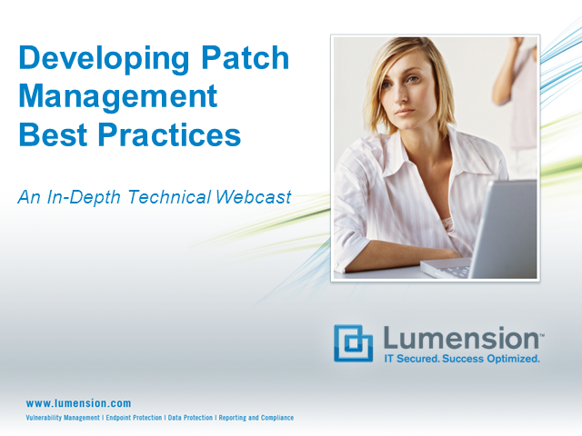 Developing Best Practices to Patch Management: An In-Depth Technical Webcast