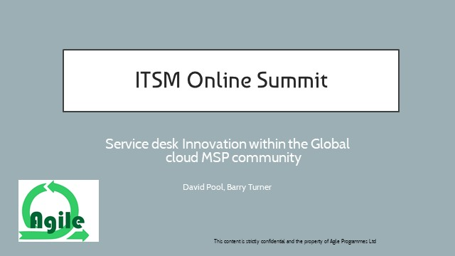Recorded: Service Desk Innovation within the Global cloud MSP community