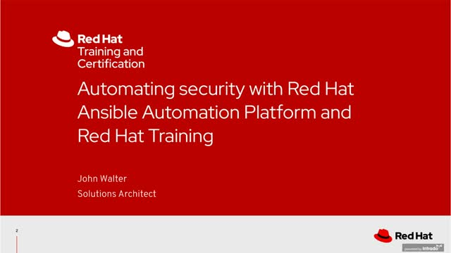 Automating security with Red Hat Ansible Automation Platform & Red Hat Training