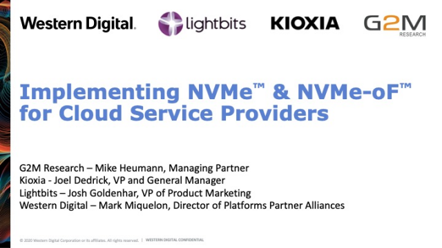 Implementing NVMe™ and NVMe-oF™ for Cloud Service Providers