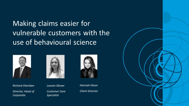 Making claims easier for vulnerable customers using behavioural science