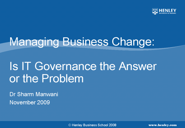 Business Change - Is IT Governance the answer?