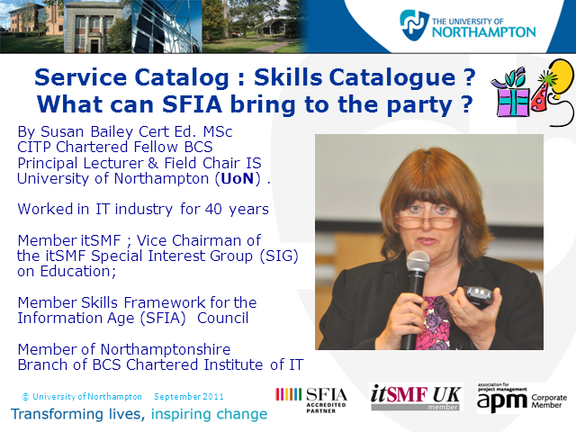 Service Catalog: Skills Catalog? What Can SFIA Bring to the Party?