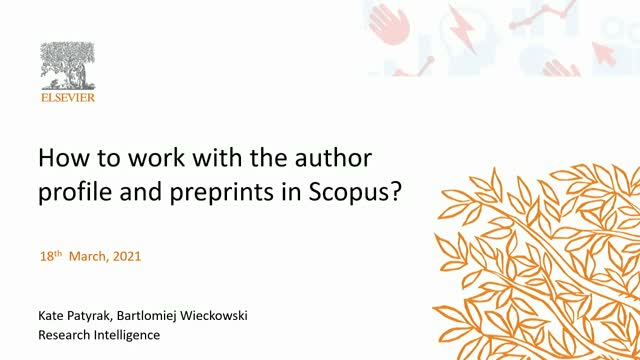 How to work with the author profile and preprints in Scopus?