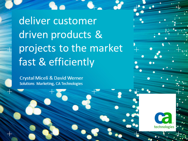 Deliver customer-driven, projects & products to market fast & efficiently