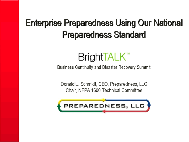Enterprise Preparedness Using Our National Preparedness Standard