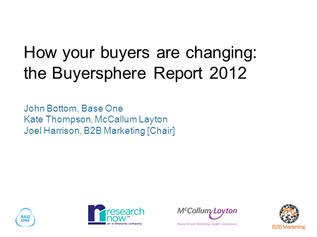 Inside the mind of the business buyer – Results of the 2012 Buyersphere Survey