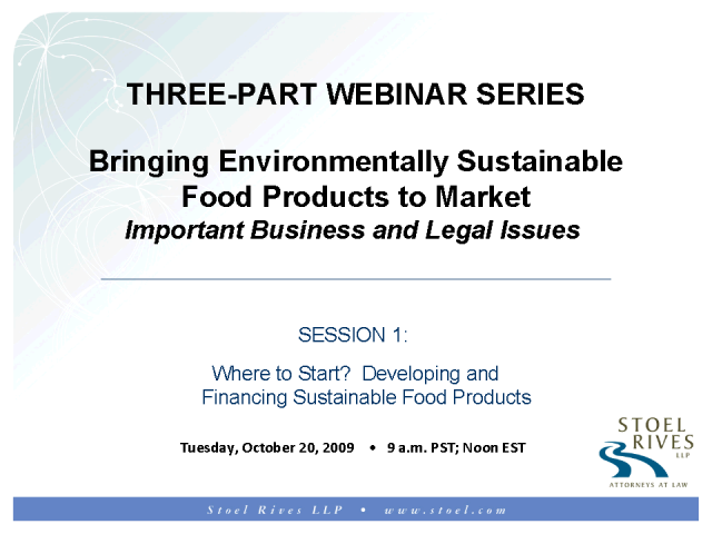 Developing and Financing Sustainable Food Products