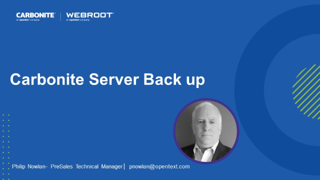 Carbonite Server Back up Product Demo