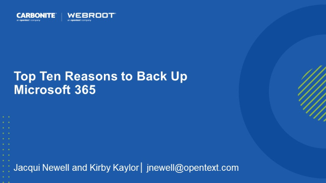Top Ten Reasons to Back Up Microsoft 365