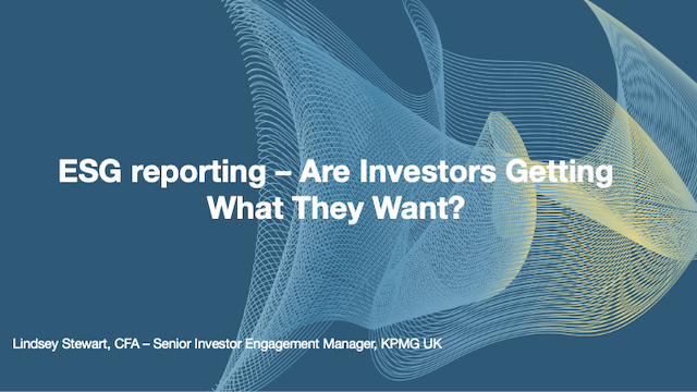 ESG reporting: Are Investors Getting What They Want?