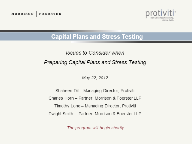 Issues to Consider When Preparing Capital Plans and Stress Testing