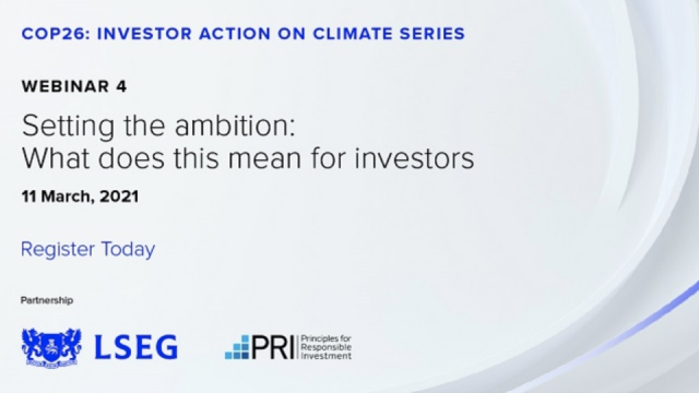 Webinar 4: Setting the ambition: what does net zero mean for investors?