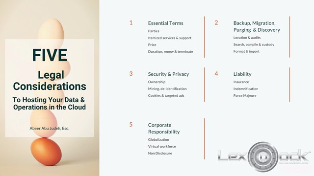 Legal Considerations to Hosting Your Data and Operations in the Cloud