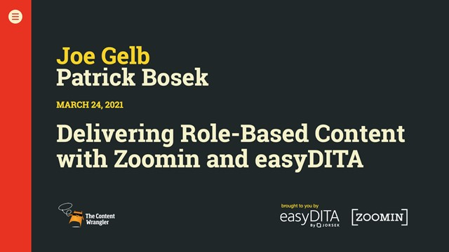 Delivering Role-Based Content With Zoomin and easyDITA