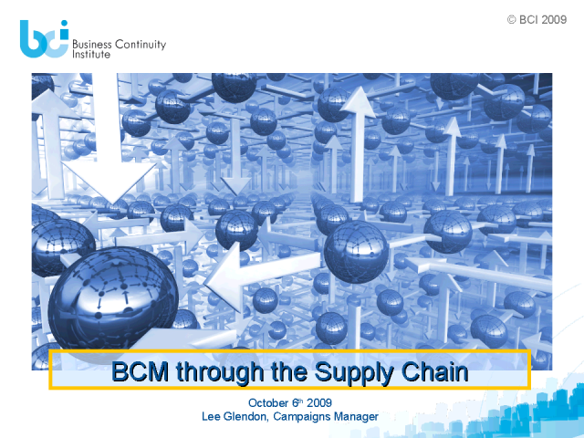 BCM through the Supply Chain