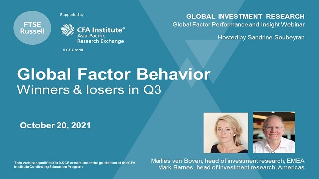 Global factor behavior: winners & losers in Q3, for an audience in APAC