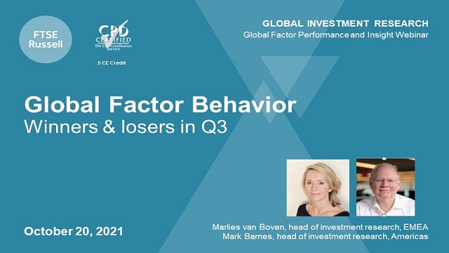 Global factor behavior: winners & losers in Q3, for an audience in the Americas
