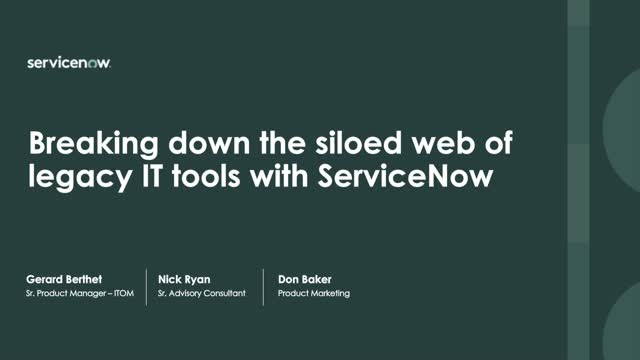Breaking down the siloed web of legacy IT tools with ServiceNow ITOM Health