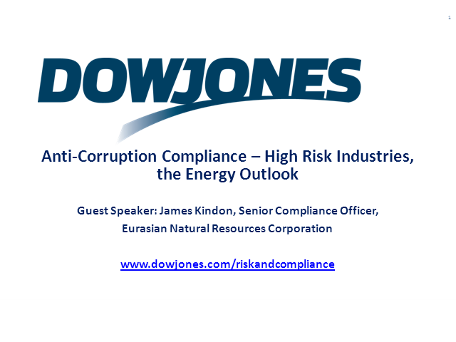 Anti-Corruption Compliance - High Risk Industries, the Energy Outlook