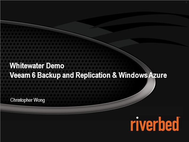 Whitewater cloud storage gateway demo featuring Veeam and Windows Azure