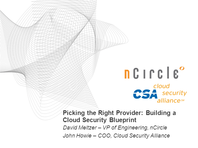 Picking the Right Provider: Building a Cloud Security Blueprint