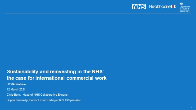 Sustainability and reinvesting in the NHS: the case for exporting