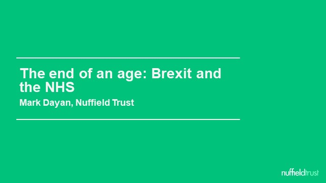 Brexit – the impact on health in the UK