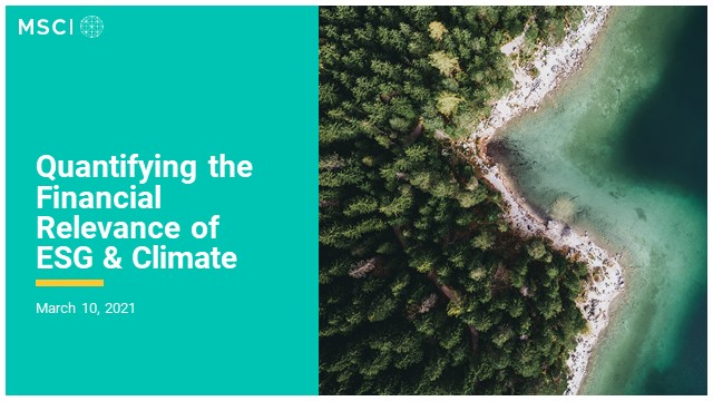 Quantifying the financial relevance of ESG & Climate