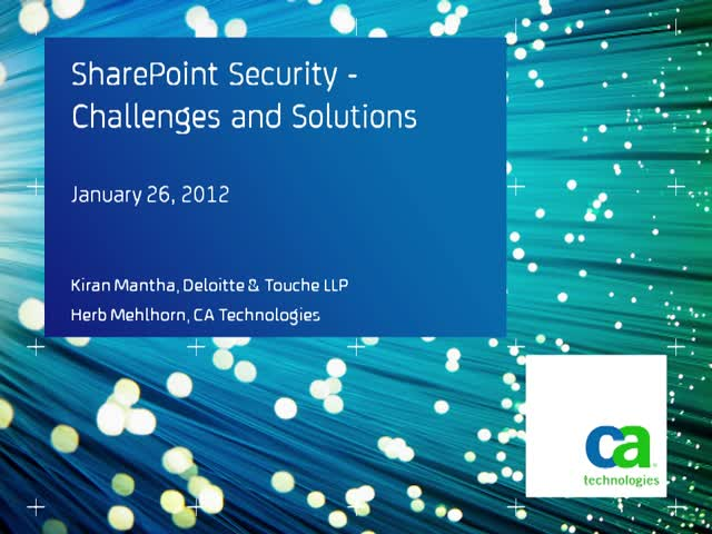 SharePoint Security - Challenges and Solutions