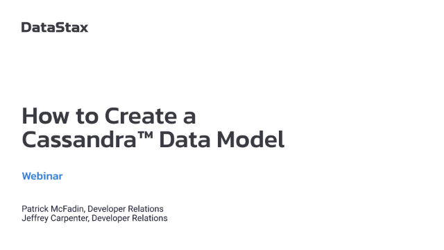 How to Create an Apache Cassandra™ Data Model