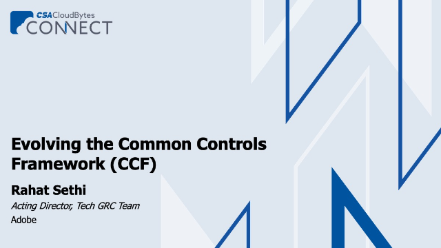 Evolving the Common Controls Framework (CCF)