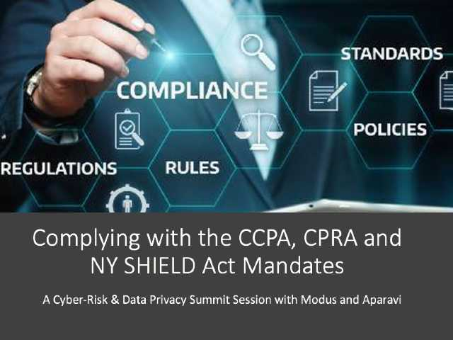 A Privacy Primer: CCPA, CPRA and NY SHIELD Act Mandate