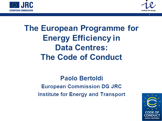 The European Programme for Energy Efficiency in Data Centres: Code of Conduct