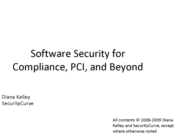 Software Security for Compliance, PCI, and Beyond