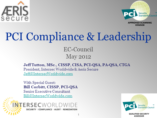 CISO Career Development Series - PCI Compliance & Leadership