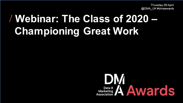 Webinar: The Class of 2020 – Championing Great Work I