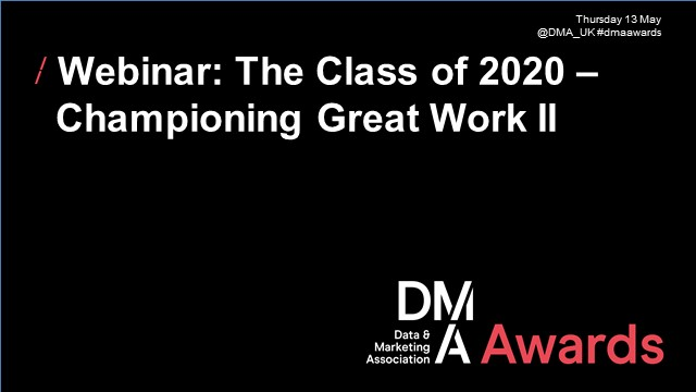 Webinar: The Class of 2020 – Championing Great Work II