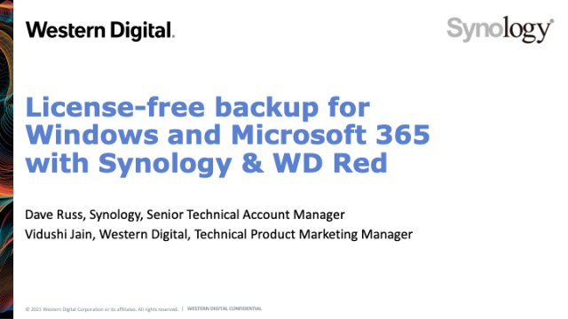 License-free backup for Windows and Microsoft 365 with Synology & WD Red