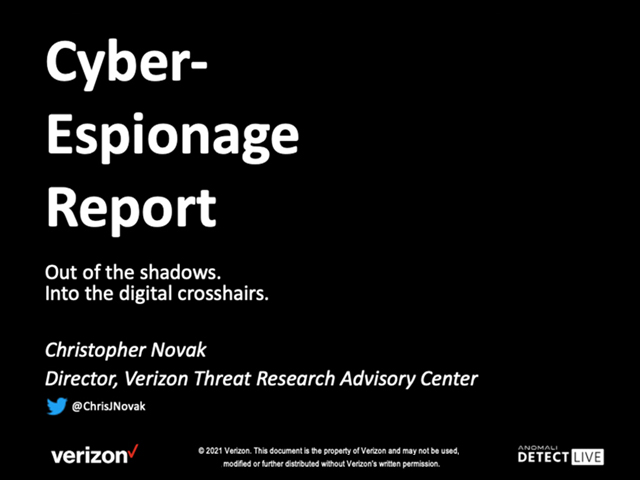 Anomali Detect LIVE: State of Cyber-Espionage Report from Verizon