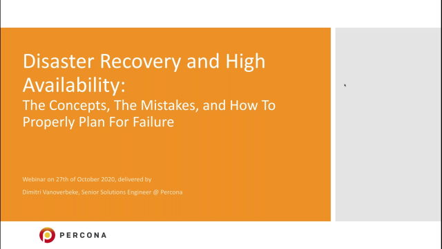 Disaster Recovery and High Availability