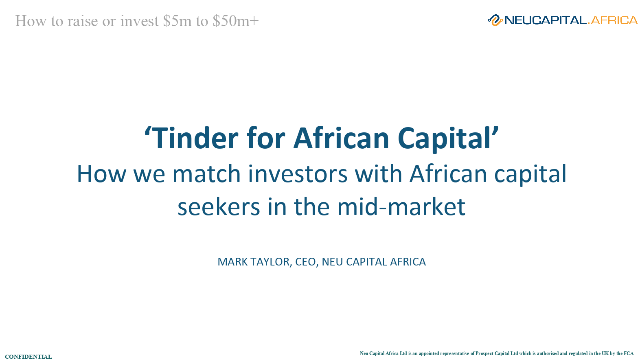 Matching investors with African businesses seeking capital of $5m to $50m+
