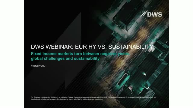 DWS Trend Talks: EUR High Yield vs Sustainability