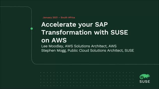 Accelerate your SAP Transformation with SUSE on AWS