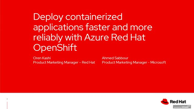Deploy containerized applications faster with Azure Red Hat Openshift